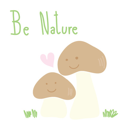 cute pastel two mushrooms with pink heart and grass be nature hand drawn vector
