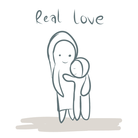 mother hug children hand drawn with word real love vector