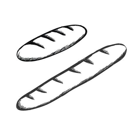 two baguettes hand drawn icon set vector Ilustração