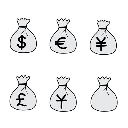 Money Bag vector icons hand drawn 일러스트