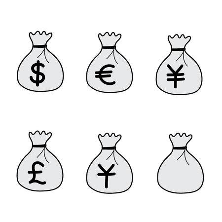 Geld-Beutel-Vektor-Icons von Hand gezeichnet Standard-Bild - 67751048
