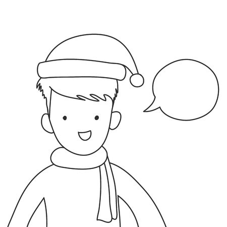 cute smile boy put santa hat and scarf with speech bubble hand drawn vector