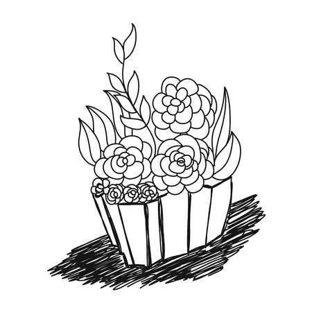Hand drawn basket full of various flowers and leaves on white background.