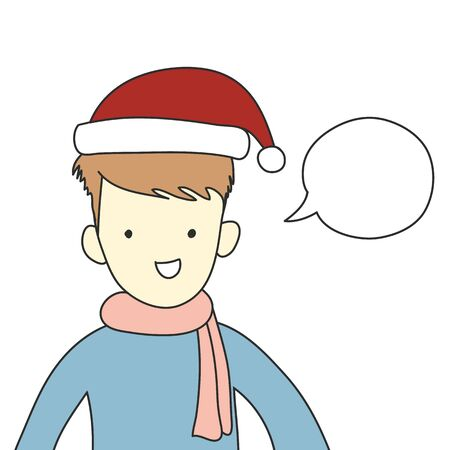 cute smile boy put santa hat and scarf with speech bubble hand drawn pastel color vector