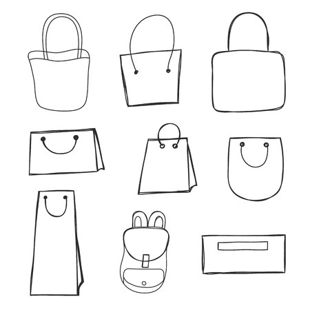 hand drawn bag set vector