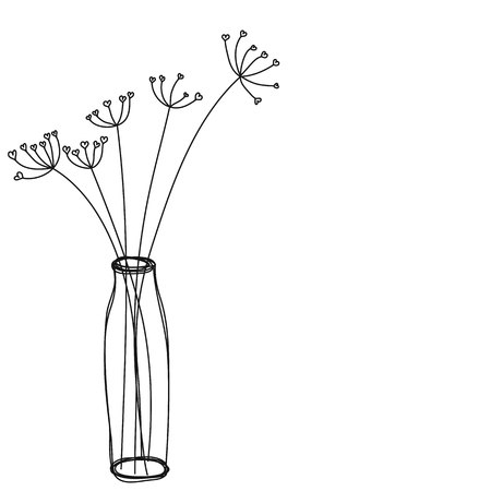 flowers in a vase icon hand drawn vector