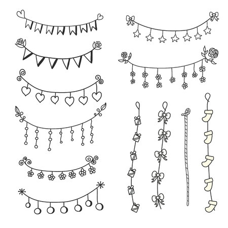 Doodle set bunting and garlands for decorations. Flags ,heart,flowers and rope vector Ilustração