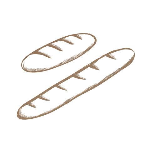 Zwei braune Retro-Baguettes von Hand gezeichnet Icon-Set Vektor Standard-Bild - 67751057