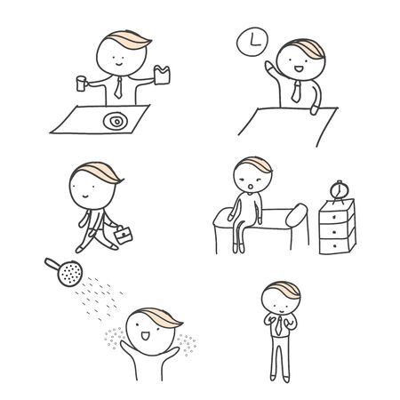cartoon daily action people icon set vector hand drawn