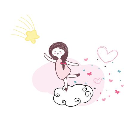 cute girl jump on the cloud for touch yellow star with pink heart hand drawn vector 일러스트