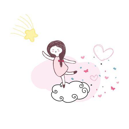 Niedliche Mädchen springen auf der Wolke für Touch-gelben Stern mit rosa Herz von Hand gezeichneten Vektor Standard-Bild - 68156188