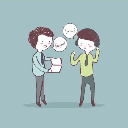 Zwei Geschäftsmann Praxis Französisch Sprache Hand gezeichnet Vektor Standard-Bild - 68156191