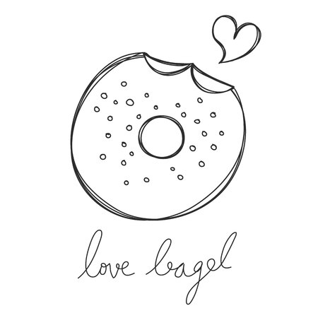 bagel: bagel cute hand drawn with heart and word love bagel vector Illustration