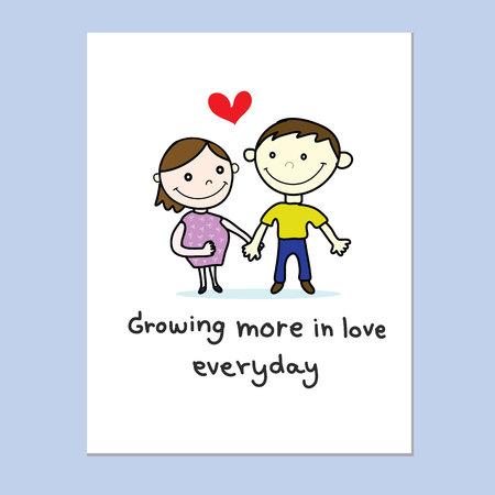 Paar Liebe mit roten Herzen Hand gezeichnete Karte Standard-Bild - 66584155