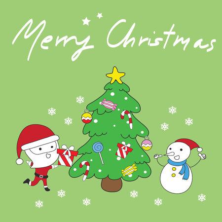 Greeting card: Merry Christmas Creative Hand Drawn card For Christmas Vector illustration.