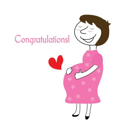 pregnant greeting card. Vector illustration. congratulations with woman pregnant smile and red heart 일러스트