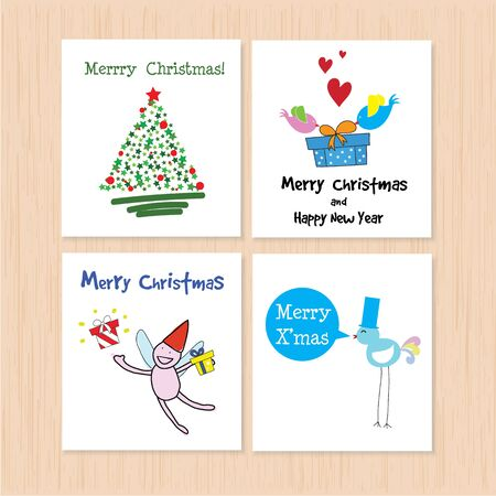 Set of greeting card: Merry Christmas and Happy New Year Creative Hand Drawn card with 4 styles with angle,christmas tree and birds Vector illustration. Isolated on white. Ilustração
