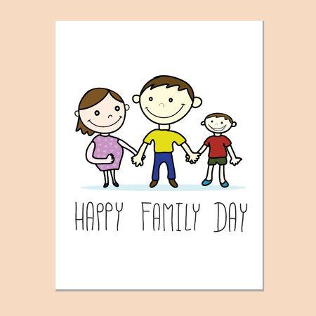 Glückliche Familie Tageskarte mit Familie von Hand gezeichneten Vektor Standard-Bild - 68999797