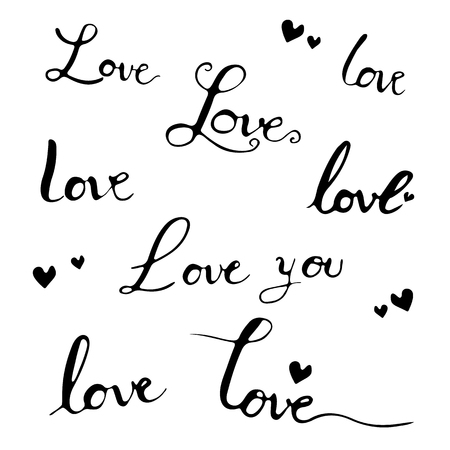 Love letterting hand drawn black and heart