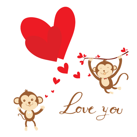 Couple monkey with red heart and lettering love you