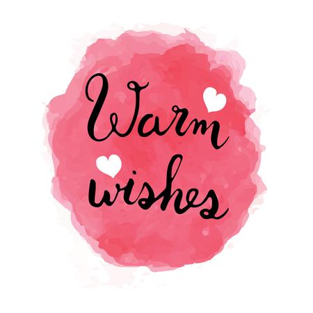 Warme Wünsche Schriftzug und Wasserfarbe mit weißem Herzen Standard-Bild - 93164872