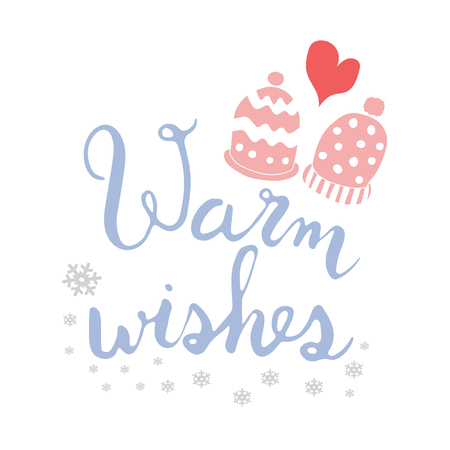 Warm Christmas wishes with winter gloves colorful lettering Standard-Bild - 93164873
