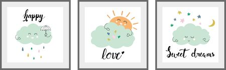 Cute cloud Set of posters for nursery baby room decoration Childish style Perfect for fabric print logo sign cards banners Kids wall art design Vector illustration.