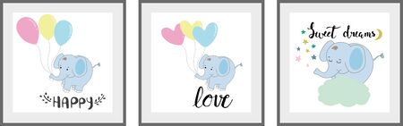 Cute elephant Set of posters for nursery baby room decoration Childish style Perfect for fabric print logo sign cards banners Kids