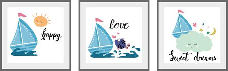 Cute blue ship set of posters for nursery baby room decoration Childish style Perfect for fabric print logo sign cards banners Kid 일러스트