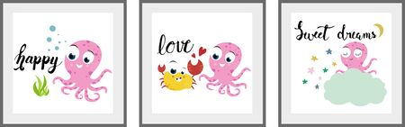 Cute octopus set of posters for nursery baby room decoration Childish style Perfect for fabric print logo sign cards banners Kids