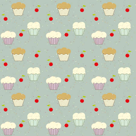 package printing: Background of cakes and cherries vector. Cakes vector. Cherries vector. Wallpaper vector. Children cloth vector. Children vector pattern. The patchwork or quilt. Quilt pattern vector.