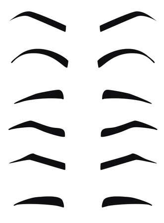 Typen und Formen der Augenbrauen Vektor. Eeybrows Vektor. Standard-Bild - 58688534