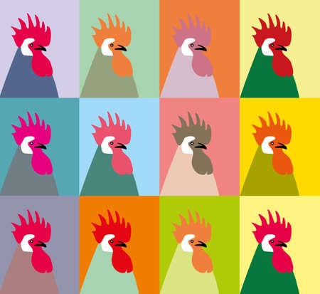 animal cock: Pop ritratto arte di dodici galli multicolori vettore. Roosters vettore. Il patchwork o trapunta. Trapunta vettore modello.