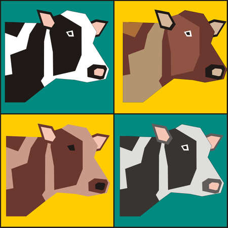 package printing: Four bulls poster painting in pop art style vector. Bull vector. Packaging for dairy products vector.