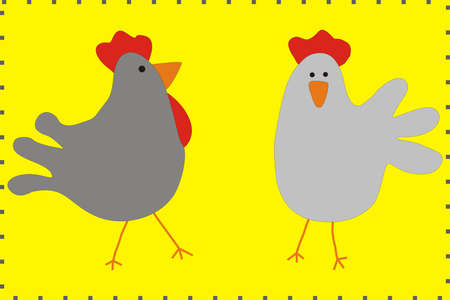 nuggets: Cartoon Family chicken and rooster vector. Chicken poster. Chicken vector illustration. Rooster for advertising. For packing chicken.