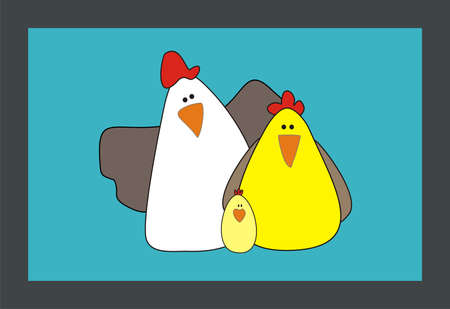 chicken family: Cartoon Family chicken and rooster vector illustration. Cartoon chicken. Chicken vector. Chicken poster. Chicken vector illustration. Rooster for advertising. For packing chicken. Illustration
