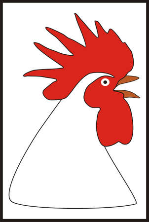 nuggets: Head rooster white-black-red.Rooster vector illustration. Cartoon rooster. Rooster vector. Rooster poster. Rooster vector illustration. Rooster for advertising. For packing chicken.