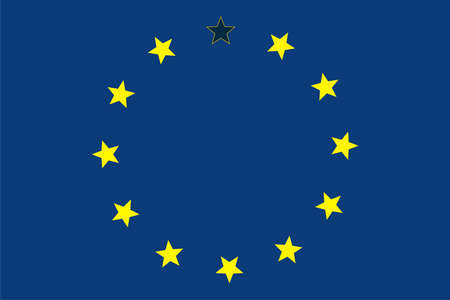 Caricature brexit. The European Union without the Great Britain. Illustration