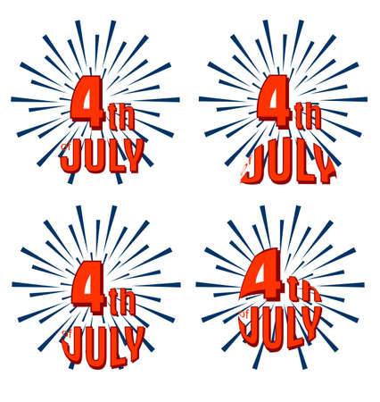 stated: Set of 4th of July. United Stated independence day greeting.