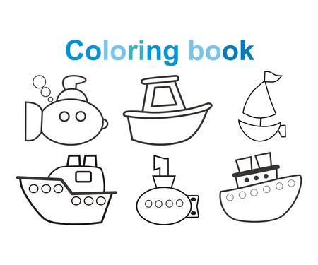 Coloring book Marine, ships, boats, submarines. Vector illustration. Children, cartoon style.