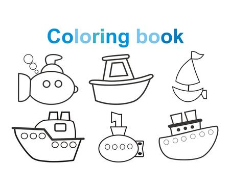 Coloring book Marine, ships, boats, submarines. Vector illustration. Children, cartoon style.