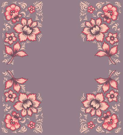 package printing: Card exotic flowers. Fabulous floral pattern. Russian folk art Khokhloma. Original wedding invitation. Ethnic background.