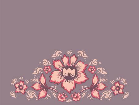 pink floral: Original wedding invitation. Card exotic flowers. Fabulous floral pattern. Russian folk art Khokhloma. Ethnic background. Illustration