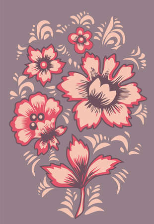 Russian folk art Khokhloma. Card exotic flowers. Fabulous floral pattern.Original wedding invitation. Ethnic background.