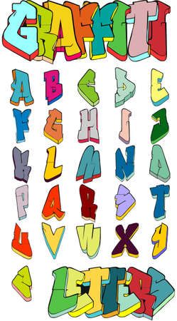 graffiti alphabet: Graffiti letters. Graffiti alphabet. Street art. Graffiti font. Graffiti vector.
