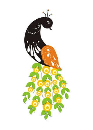 Fabulous bird of Paradise peacock. Fabulous peacock vector on white background symbol of India Vetores