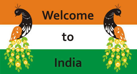Welcome to India. Peacock on the background of the flag for your signs to the hotel or invitations. Vector illustration