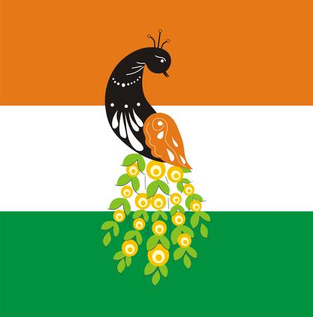 Fabulous bird of Paradise peacock on the background of the flag. The symbol of India. Vector illustration
