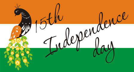 Indian Independence Day. Peacock on the background of the flag and greeting lettering. Vector illustration Illustration