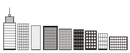 central park: Skyscrapers and Houses, Black and White color Icons Buildings and City skyline icon Concept of downtown elements isolated on White Background Town landscapes Flat Style modern design